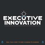 Executive innovation logo - black background white text