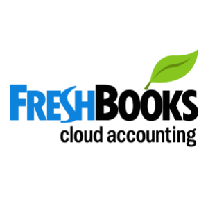 FreshBooks cloud accounting blue and black text with green leaf on the top right side on a white background