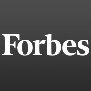 Forbes logo with white letters on a black background