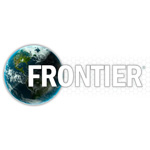 frontier developments logo white text with the sphere