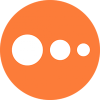 logo with orange circle with 3 smaller white circles inside it
