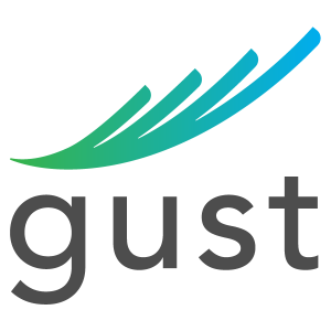 The gust logo with few colorful stripes on a transparent background