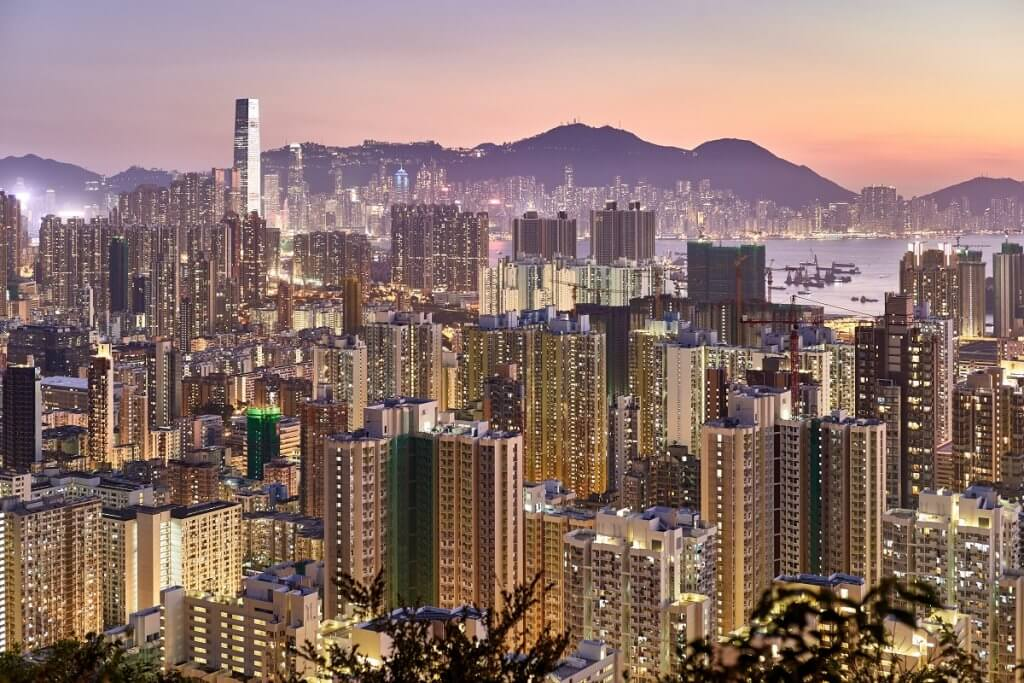Hong Kong, Hong Kong city with lights mountains in background