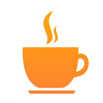 logo with graphic of cup of coffee in orange, white background