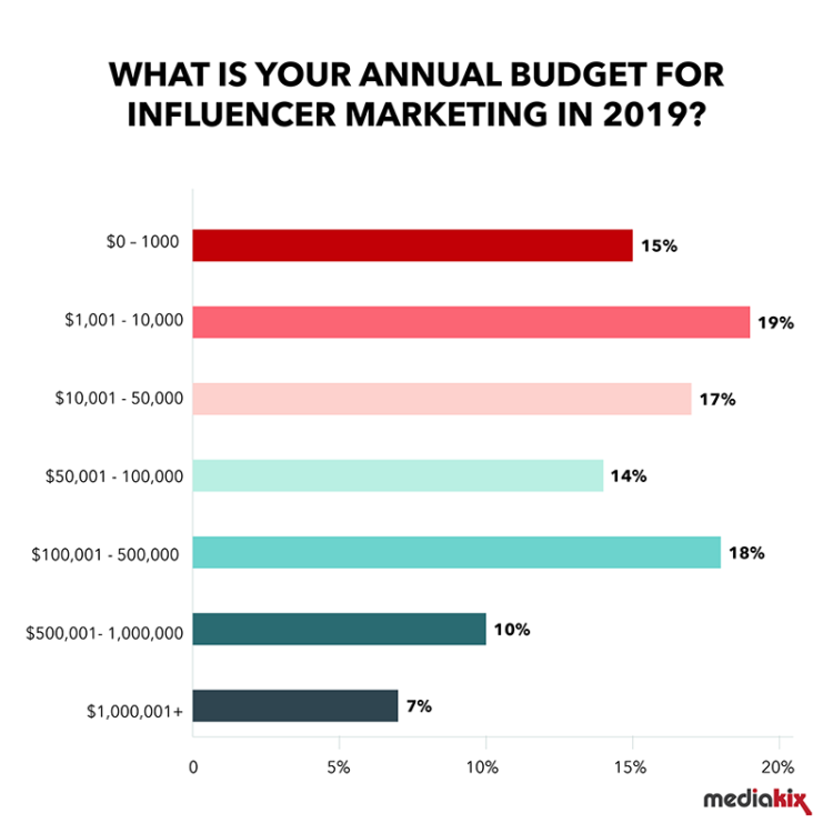 A graph presenting your annual budget on influencer marketing