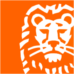 orange logo with a white lion drawing