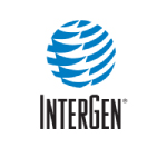 intergen logo blue and white shape with black text