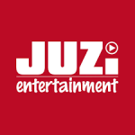 juzi entertainment logo white text with red background