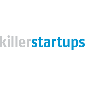 killerstartups logo with grey and blue letters on a transparent background