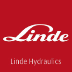 linde hydraulics logo white text with red background