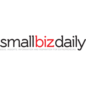 smallbizdaily logo with black and red letters on a transparent background