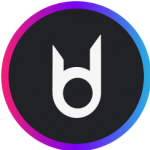 Circle logo in black background with white image inside and margins with transitions between pink, blue and purple