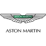 aston martin logo white background black edges wings with green center