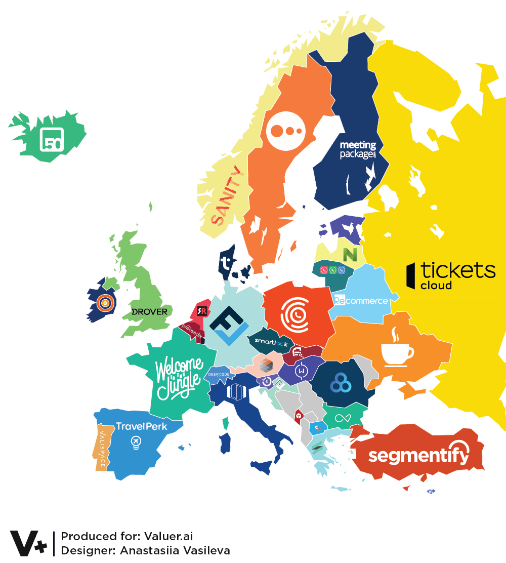 infographic of a stylized map of europe featuring the logo of a startup inside each countries border in many colors on a white background