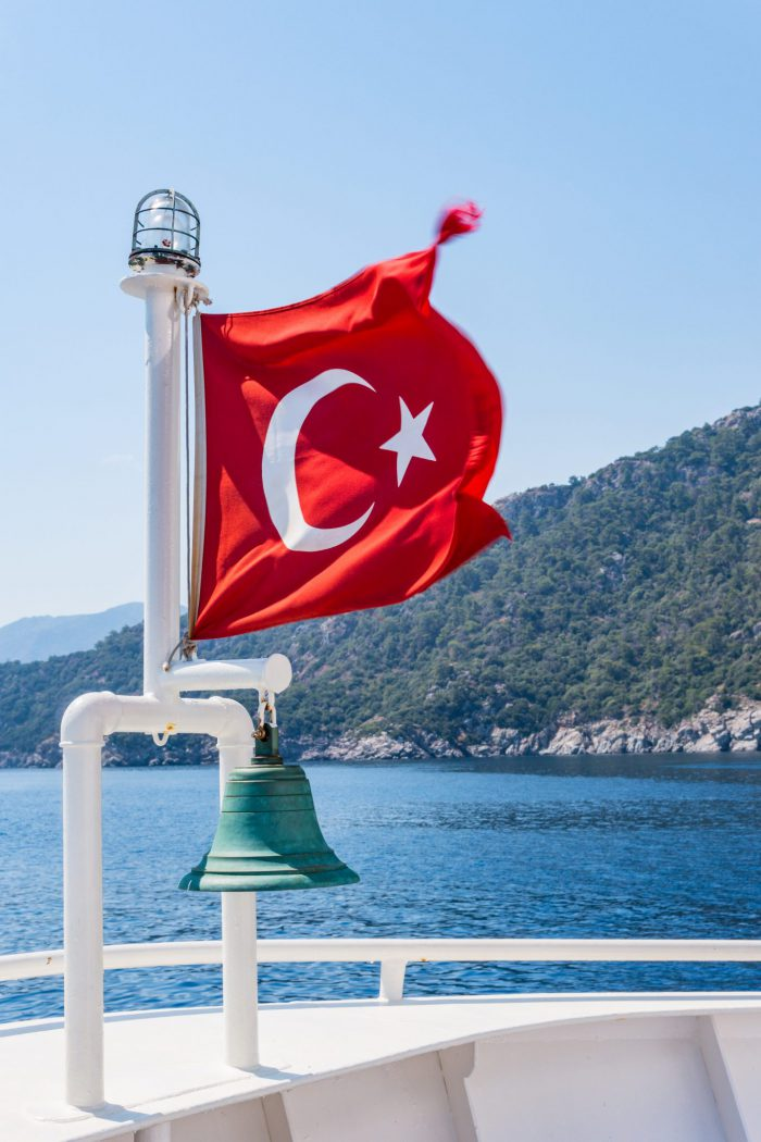 Turkey's flag on a boat from unsplash