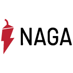 naga logo red pepper shape with black text white background