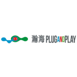 plug and play china logo blue and green with grey text white background