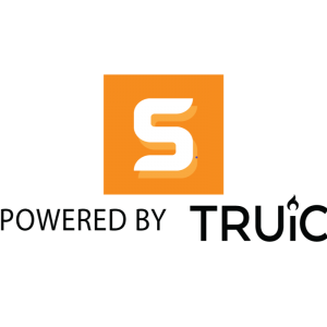 powerd by truic with blakc letters s on the middle in a orange cube on a transparent background