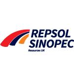 repsol sinopec logoblack text, red and orange shapes