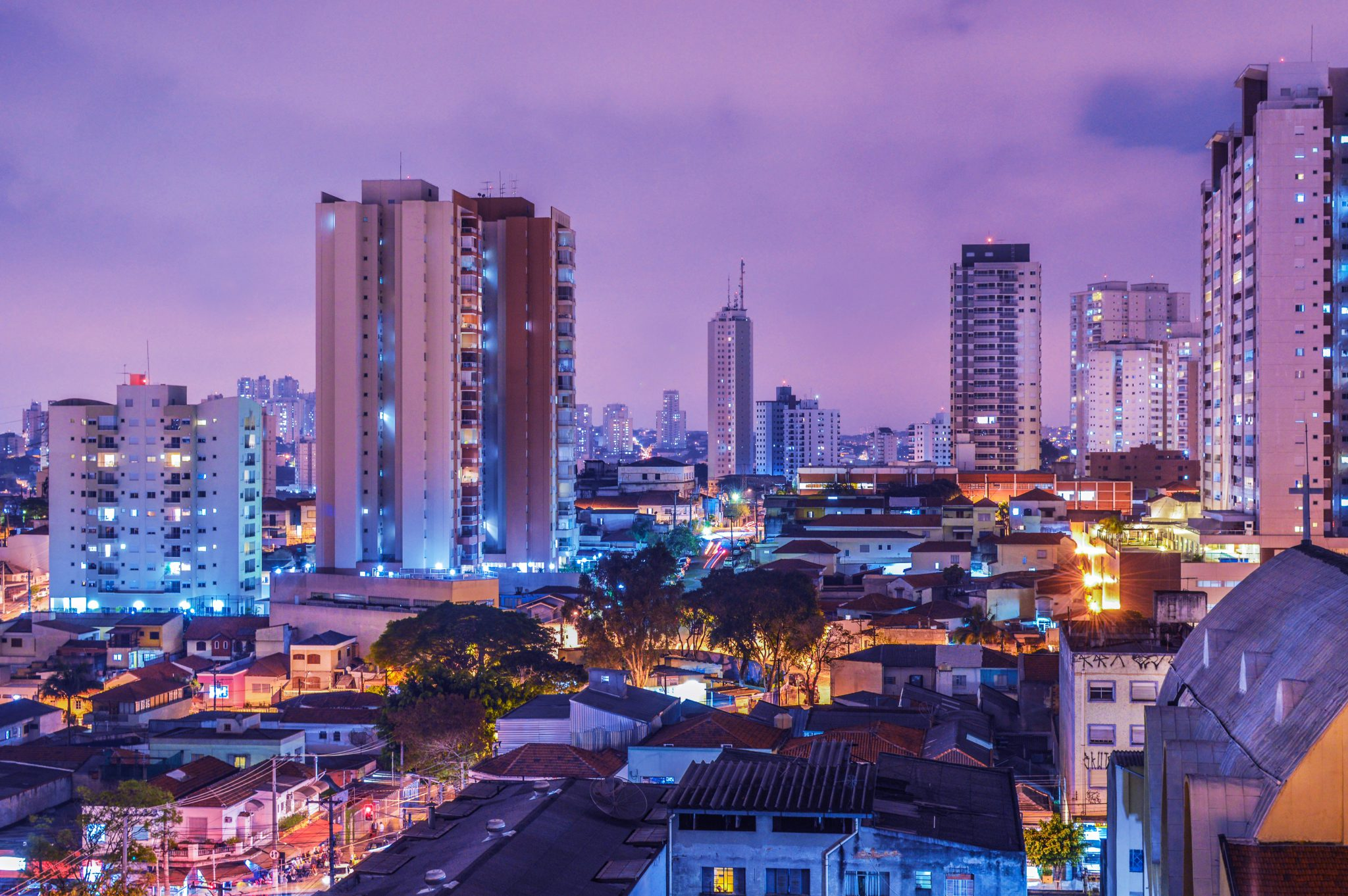 Sao Paulo, Brazil city at night with lights
