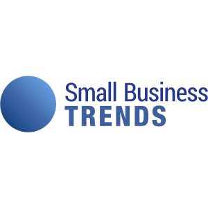 smallbiztrends logo with blue letters and blue circle on the left side on a white background