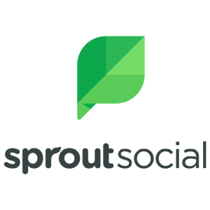 Sprout Social logo with green letters and green leaf at the middle on a transparent background
