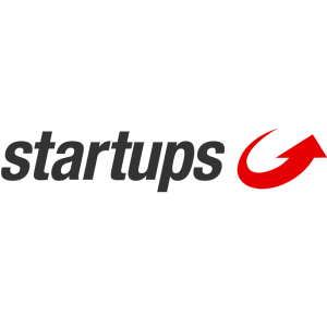 startups logo with black letters and red arrow on the right side