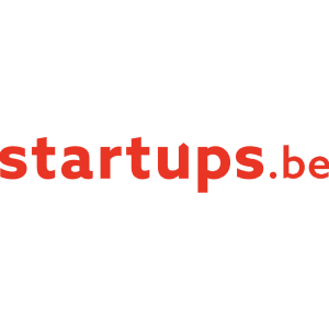 startups.be logo with red letters on a transparent background