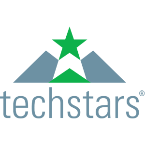 Techstars logo text in grey with a green start in the middle on a transparent background