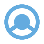 the flow logo light blue with white background
