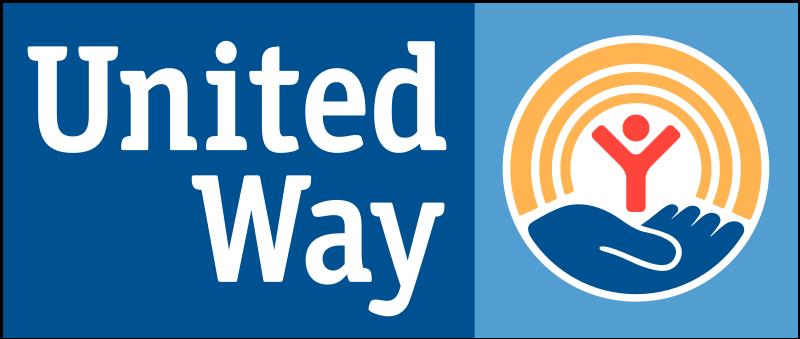 United Way logo blue rectangular logo with text overlay