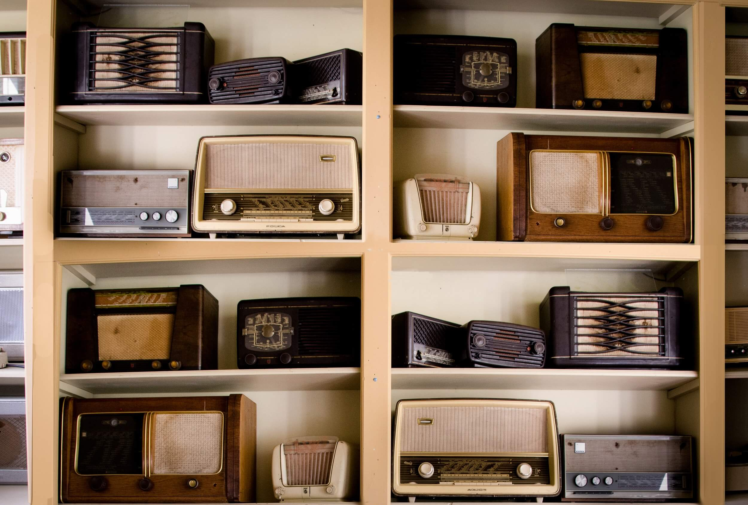 shelf with old radios