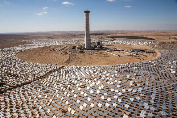 israel solar panel tower