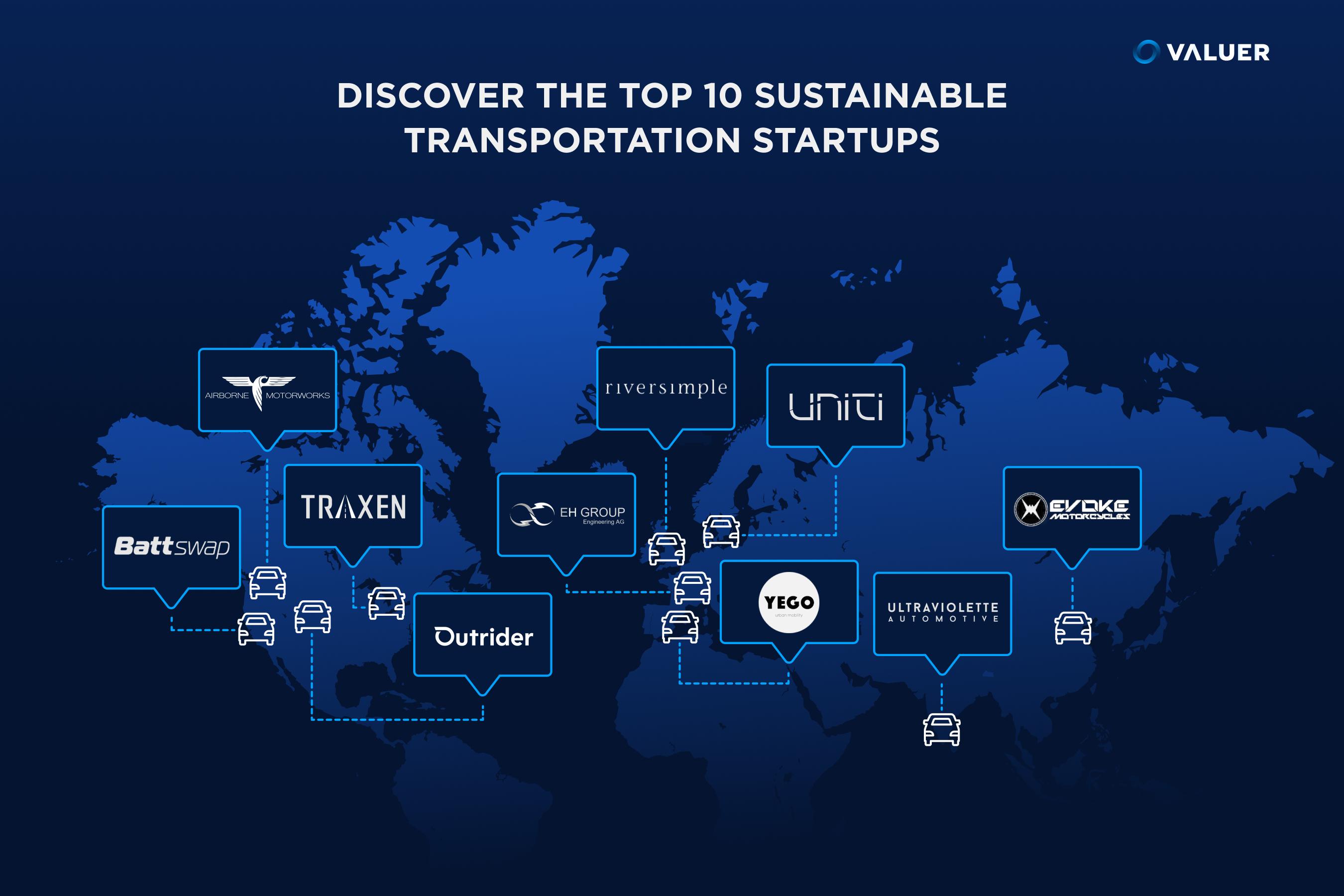 Map Image of sustainable transportation startups