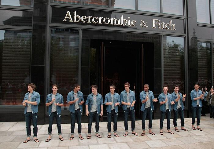 abercrombie and fitch store with men outside the front