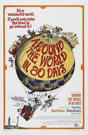 cartoon of an air balloon with trains and boats moving across it, one man sits in the basket and another hangs from a rope, the title of the film is in red on the balloon, background is white