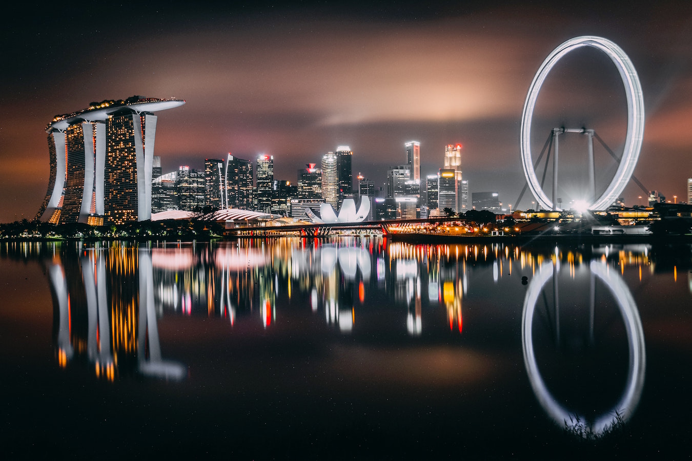 singapore from the water at night