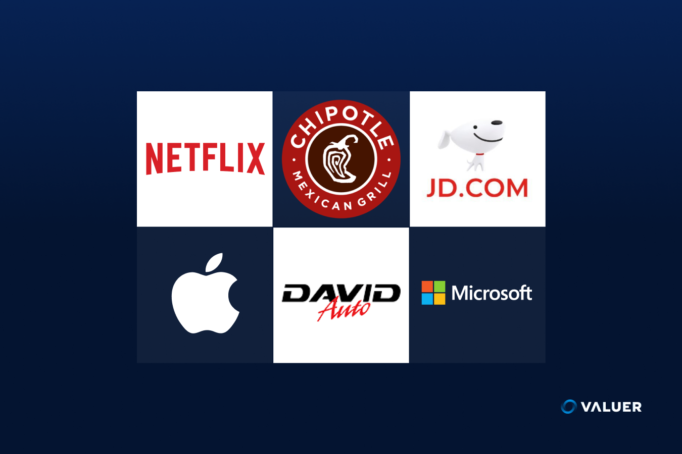 logos of Netflix, Chipotle, JD.com, Apple, David Auto, and Microsoft