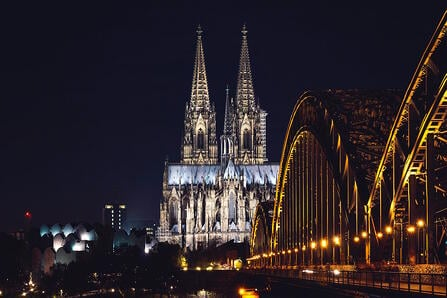 view of the church in cologne from a bridge