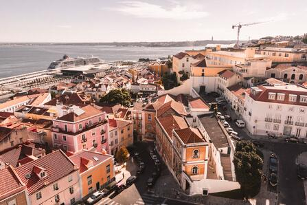 lisbon, portugal with a view over the harbor