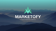 Marketofy logo - mountain background with teal logo and white text