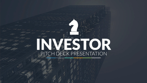 Investor logo - dark building background with white chess piece logo and white text