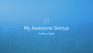 My awesome startup white text on blue background