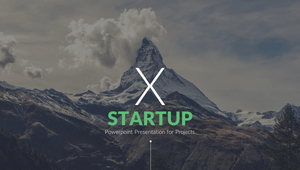 Startup X logo - mountain background with white X and green text