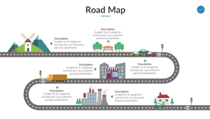 Roadmap logo - infographic with roads and buildings on a white background
