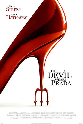 red high heel but the heel is a devils trident, white background, black text