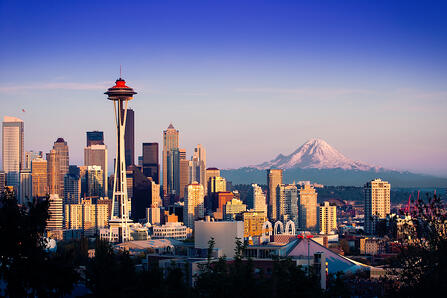 downtown seattle with mt. saint helens in the background