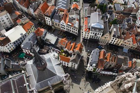 top down view of antwerp, belgium