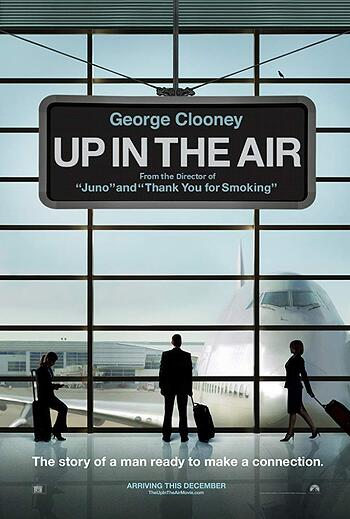 in an airport terminal the silhouette of a man looks out of the window at a plane, the title of the film is in white lettering placed in a boarding screen