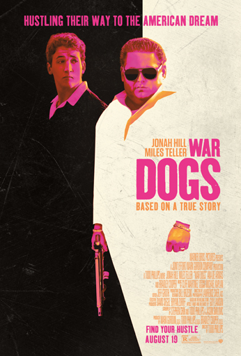 stylized image of two men wearing suits, one carries a gun, wearing sunglasses, a pink filter is applied, pink and orange text overlaid